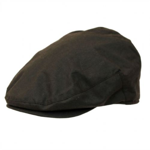 Mens Flat Cap: Waxed Cotton, Waterproof - Brown